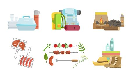 Picnic and Camping Equipment Set, Touristic Equipment and Accessories Vector Illustration