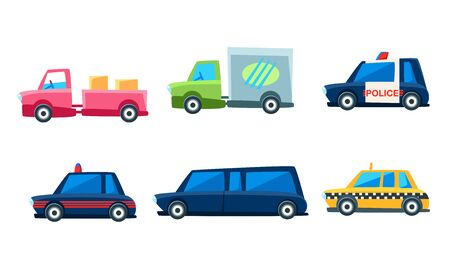 Cute City Transport Set, Colorful Childish Vehicles Vector Illustration