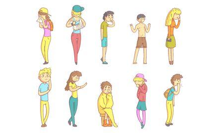 Kranke Menschen Zeichensatz, Jungs und Mädchen, die an verschiedenen Symptomen leiden, Cartoon-Vektor-Illustration Vektorgrafik