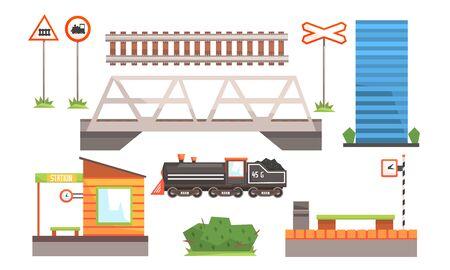 Rail Transport Set, Railway Station, Road Signs, Locomotive, Bridge Vector Illustration Stock Vector - 129697693