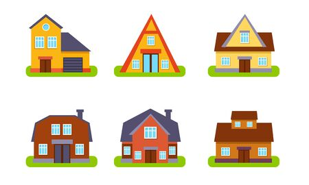 Suburban Residential Cottages Set, Real Estate Buildings, Front View Vector Illustration