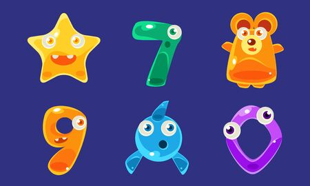 Collection of Cute Jelly Creatures and Numbers, Glossy Colorful Animals Vector Illustration Иллюстрация