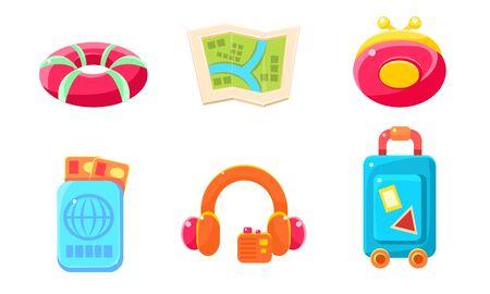 Collection of Cute Bright Glossy Summer Symbols, Summer Holidays Signs Vector Illustration