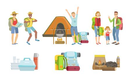 Happy People Characters Having Picnic Set, Touristic Equipment and Accessories Vector Illustration