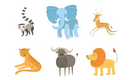 Cute African Animals Set, Raccoon, Elephant, Antelope, Tiger, Lion, Mountain, Sheep Vector Illustration 일러스트
