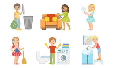 Boys and Girls Doing Different Doing Housework Set, Children Helping Their Parents with Home Cleaning Vector Illustration