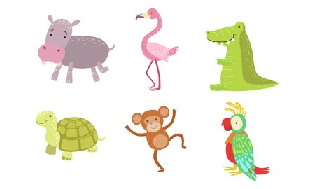 Cute African Animals Set, Turtle, Monkey, Parrot, Hippo, Flamingo, Crocodile Vector Illustration 스톡 콘텐츠 - 129698174