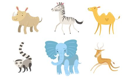 Cute African Animals Set, Rhino, Zebra, Camel, Raccoon, Elephant, Antelope Vector Illustration