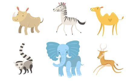 Cute African Animals Set, Rhino, Zebra, Camel, Raccoon, Elephant, Antelope Vector Illustration