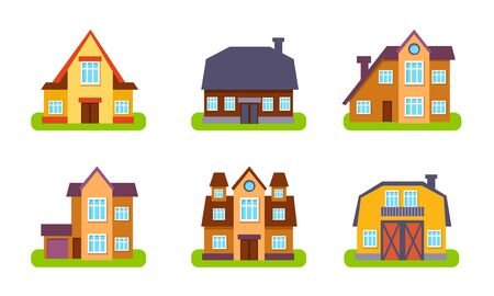 Suburban Houses and Cottages Set, Real Estate Buildings, Front View Vector Illustration Stock Illustratie