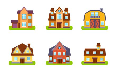 Suburban Residential Houses and Cottages Set, Real Estate Buildings, Front View Vector Illustration Stock Illustratie