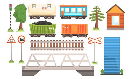 Railway Station Elements Set, Railway Passenger and Freight Transport, Road Signs, Bridge Vector Illustration Illustration