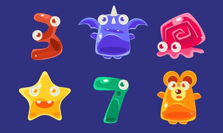 Cute Jelly Creatures and Number Seven Set, Glossy Colorful Animals Vector Illustration