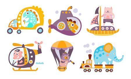 Sammlung von Spielzeugtransportern mit niedlichen Tieren, lustigen Dinosauriern, Fischen, Katzen, Schweinen, Bären, Elefanten, die verschiedene Arten von Transportvektorillustration fahren Vektorgrafik