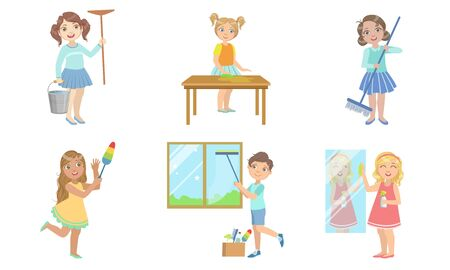 Boys and Girls Doing Different Housework Chores Set, Kids Helping Their Parents with Home Cleaning Vector Illustration