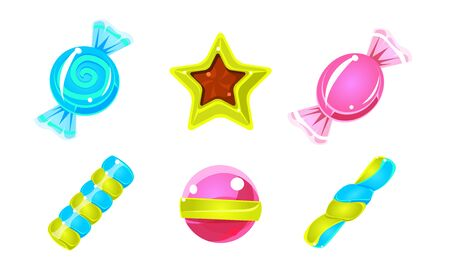 Collection of Glossy Candies, Colorful Sweets of Various Shapes Vector Illustration