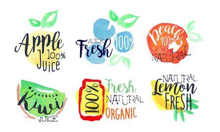 Conjunto de etiquetas brillantes de jugo fresco natural, alimentos saludables Eco Bio, manzana, limón, kiwi, jugos de durazno Ilustración de vector dibujado a mano acuarela Ilustración de vector