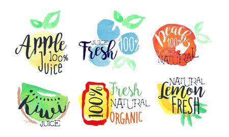 Naturalny świeży sok jasny zestaw etykiet, zdrowa żywność Eco Bio, jabłko, cytryna, kiwi, soki brzoskwiniowe akwarela ręcznie rysowane ilustracji wektorowych Ilustracje wektorowe