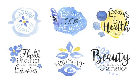 Health Product Natural Cosmetics Lables Set, Beauty Cosmetics Product Badges Watercolor Hand Drawn Vector Illustration Çizim
