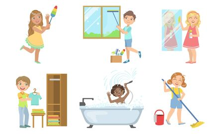 Boys and Girls Doing Different Doing Housework Set, Kids Helping Their Parents with Home Cleaning Vector Illustration Ilustração