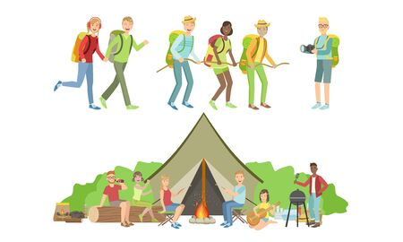 Happy People Characters Having Picnic Set, Families Travelling on Summer Vacation Vector Illustration
