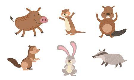 Cute Wild Forest Animals Set, Gopher, Wild boar, Beaver, Hare, Chipmunk, Badger Vector Illustration Stock Illustratie