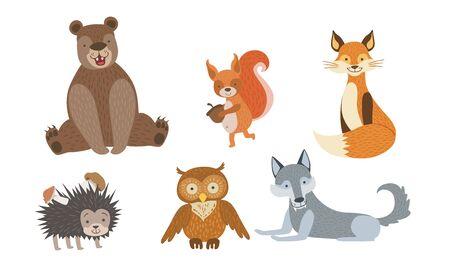 Cute Wild Forest Animals Set, Bear, Squirrel, Fox, Hedgehog, Owl, Wolf Vector Illustration