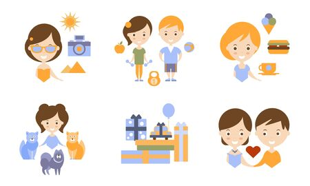 Happy Family Modern Lifestyle Icons Set, Travel, Holidays and Healthy Lifestyle Flat Vector Illustration