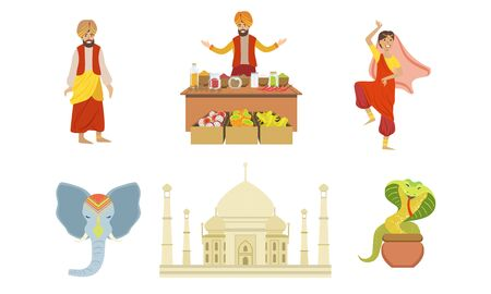 Traditional Indian Symbols Set, Elephant, Taj Mahal, Cobra and Indian People in Traditional Clothing Vector Illustration