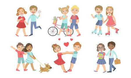Cute Teenage Couples Set, Adorable Boys and Girls Walking Together Holding Hands Vector Illustration