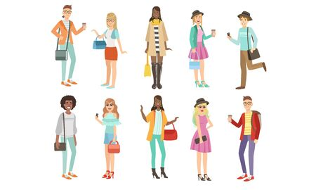 Young People in Fashion Clothes, harismatic Boys and Girls Characters Vector Illustration on White Background. Foto de archivo - 129570244