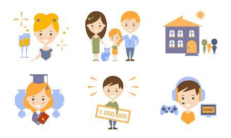 Happy Family Modern Lifestyle Icons Set Flat Vector Illustration