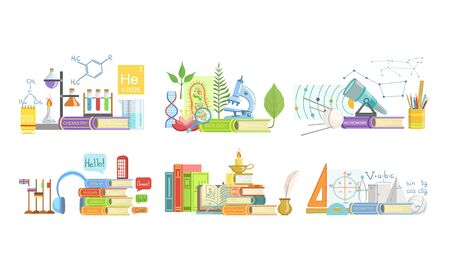School Subjects Set, Chemistry, Biology, Astronomy, Foreign Language, Literature, Geometry Vector Illustration Фото со стока - 129699143