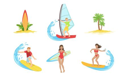 Summertime Sports Activities and Hobbies Set, Girl Relaxing on Summer Vacation, Yachting and Surfing Vector Illustration