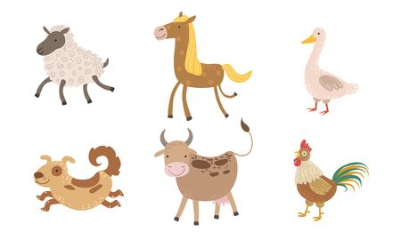Cute Farm Animals Set, Sheep, Goose, Horse, Dog, Cow, Rooster Vector Illustration on White Background.