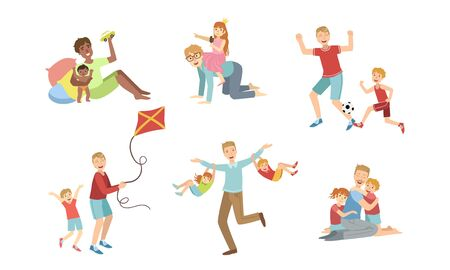 Fathers and Their Kids Having Good Time Together Set, Happy Dads Playing, Doing Sports, Having Fun with Their Children Vector Illustration