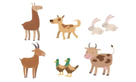 Cute Farm Animals Set, Rabbit, Alpaca, Dog, Goat, Duck, Cow Vector Illustration