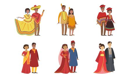 Men and Women Dressed Folk Costumes of Various Countries Set, Peru, Ameican Indian, Mexico, India, China, Japan, Vector Illustration Illustration