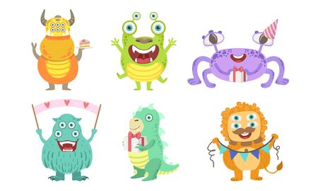 Cute Colorful Happy Monsters Set, Funny Friendly Mutant Characters, Birthday Party Design Elements Vector Illustration Ilustração
