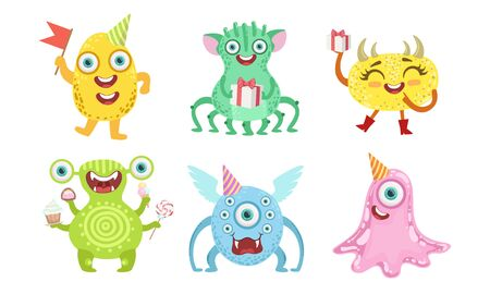 Cute Happy Monsters Set, Funny Friendly Colorful Mutant Characters, Childish Birthday Party Design Elements Vector Illustration