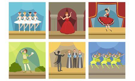 Attori che si esibiscono sul set scenico, concerto di musica con cantanti lirici e ballerini di balletto, illustrazione di vettore interno palcoscenico teatrale Vettoriali