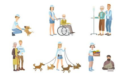 Volunteers at Work Set, Young Men and Women Walking Dog, Helping Disabled Person and Homeless, Supporting Elderly People Vector Illustration Ilustração Vetorial
