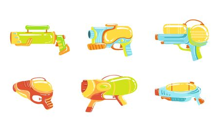 Water Guns Collection, Colorful Water Pistols, Toy Weapon Vector Illustration