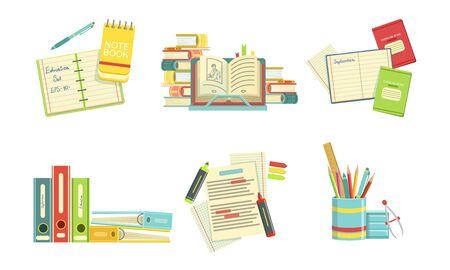 School Supplies Set, Copybook, Textbooks, Folders, Markers, Back to School Concept Vector Illustration
