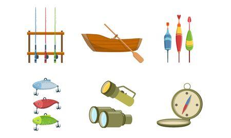 Fishing Sport Equipment Set, Fishing Rod, Wooden Boat, Tackle, Compass, Flashlight, Binoculars Vector Illustration Stock Illustratie