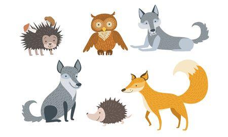 Cute Wild Forest Animals Set, Hedgehog, Owl, Wolf, Fox Vector Illustration
