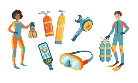 Snorkeling and Scuba Diving Elements Set, Scuba Diver Man and Woman Characters Dressed in Wetsuits with Equipment, Diving Mask, Oxygen Cylinders, Depth Gauge, Fins Vector Illustration