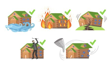 Property Insurance Set, Different Types of House Insurances Vector Illustration Illustration