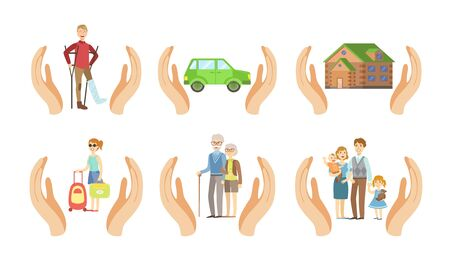 Insurance Services Set, Different Types of Insurances, Health, Car, Home, Travel, Old Age, Family Vector Illustration