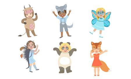 Cute Happy Kids Dressed Animal Costumes Set, Cow, Wolf, Butterfly, Hedgehog, Panda, Fox Vector Illustration